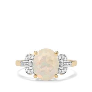 Ethiopian Opal & White Zircon 9K Gold Ring ATGW 1.52cts