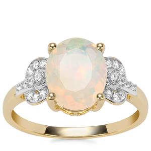 Ethiopian Opal Ring with White Zircon in 9K Gold 1.52cts