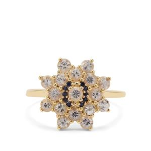 Ceylon Blue Sapphire Ring with Ceylon White Sapphire in 9K Gold 1.83cts
