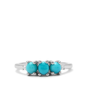 Sleeping Beauty Turquoise & White Zircon Sterling Silver Ring ATGW 1.11cts