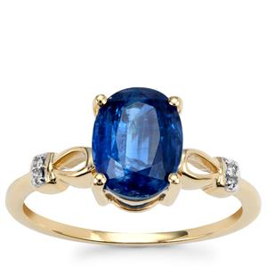 Daha Kyanite Ring with Diamond in 10k Gold 2.35cts