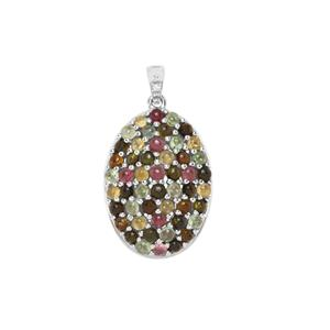 Rainbow Tourmaline Pendant with White Zircon in Sterling Silver 7.52cts