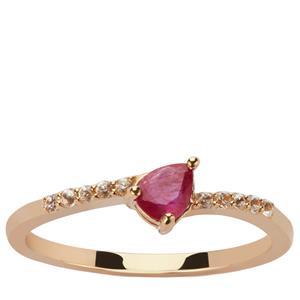 Montepuez Ruby & White Zircon 9K Gold Ring ATGW 0.50ct