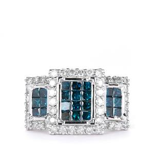 2.45ct Blue & White Diamond 9K White Gold Ring