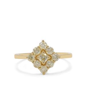 3/4ct Yellow Diamond 9K Gold Ring