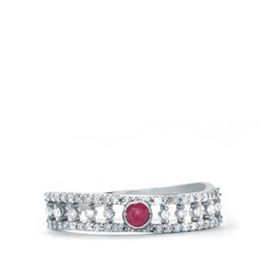 Ruby & Diamond 10K White Gold Ring