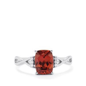Zanzibar Zircon Ring with Diamond in 10k White Gold 2.36cts