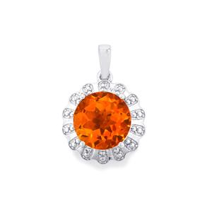Padparadscha Quartz Pendant in Sterling Silver 4.55cts