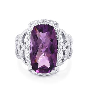 Zambian Amethyst & White Topaz Sterling Silver Ring ATGW 8.78cts