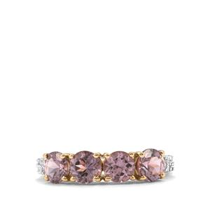 Mahenge Purple Spinel Ring with White Zircon in 9K Gold 2.32cts