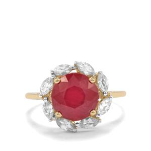 Malagasy Ruby Ring with White Zircon in 9K Gold 4.84cts (F)