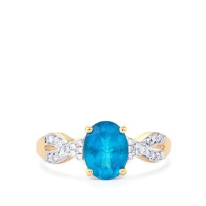 Neon Apatite Ring with Diamond in 14K Gold 1.61cts