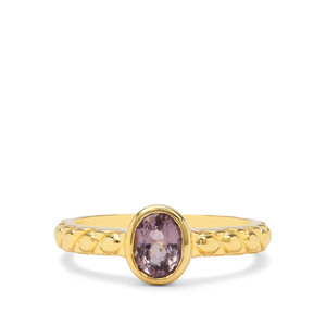 Burmese Pink Spinel Ring in Gold Plated Sterling Silver 1.03ct