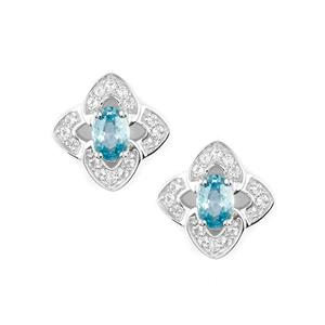 Ratanakiri Blue Zircon Earrings with White Topaz in Sterling Silver 1.93cts