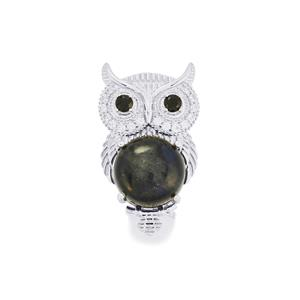 Labradorite, Black Spinel Brooch with White Zircon in Sterling Silver 9.07cts