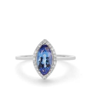 AAA Tanzanite Ring with White Zircon in 9K White Gold 1.15cts