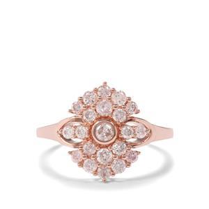3/4ct Natural Pink Diamond 9K Rose Gold Tomas Rae Ring