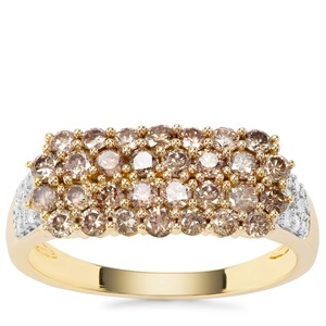 Champagne Diamond Ring with White Diamond in 9K Gold 1.03cts