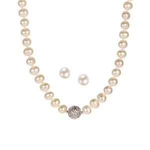 Kaori Cultured Pearl Sterling Silver Set of Necklace & Earrings