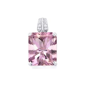 Rose De France Amethyst Pendant with White Topaz in Sterling Silver 8.88cts