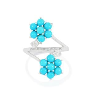 Sleeping Beauty Turquoise Ring with Ratanakiri Zircon in Sterling Silver 2.59cts