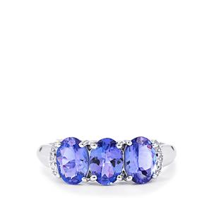 AA Tanzanite Ring with White Zircon in 10k White Gold 2.32cts