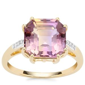 Asscher Cut Anahi Ametrine Ring with Diamond in 10K Gold 4.50cts