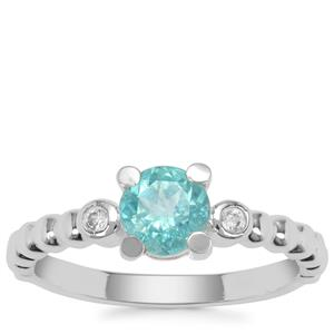 Madagascan Blue Apatite Ring with White Zircon in Sterling Silver 0.93ct