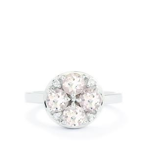 Zambezia Morganite & White Topaz Sterling Silver Ring ATGW 1.30cts