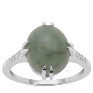Type A Burmese Jade Ring in Sterling Silver 6.17cts
