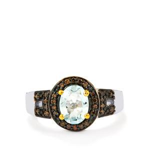 Espirito Santo Aquamarine Ring with Champagne Diamond in Sterling Silver 1.29cts