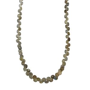 Labradorite Graduated Bead Necklace in Sterling Silver 90cts