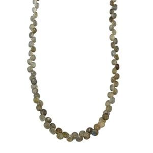 90ct Labradorite Sterling Silver Graduated Bead Necklace