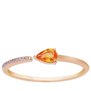 Yellow Sapphire & Ring with Diamond in 9K Gold 0.34cts