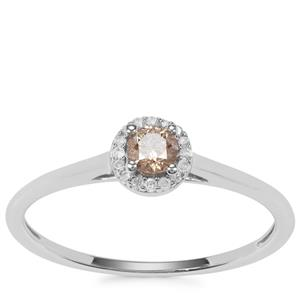 Champagne Diamond Ring with White Diamond in 9K White Gold 0.20ct