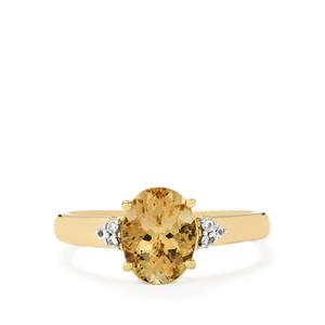 Champagne Danburite & White Zircon 9K Gold Ring ATGW 1.94cts