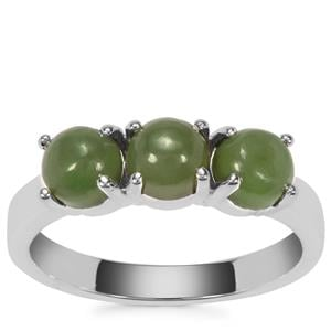 Genuine Jade Ring in Sterling Silver 2.08cts
