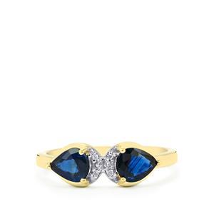 Australian Blue Sapphire & White Zircon 9K Gold Ring ATGW 1.11cts