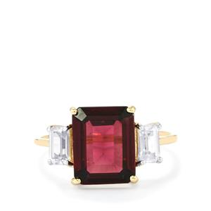 Rajasthan Garnet Ring with White Zircon in 10K Gold 5.03cts