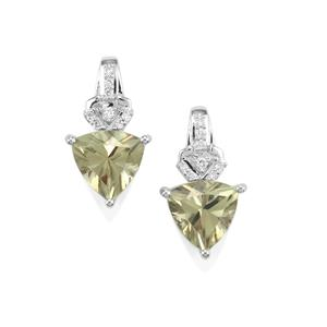Csarite® Earrings with Diamond in 18K White Gold 4.15cts