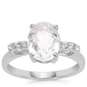 Ice Kunzite Ring with White Topaz in Sterling Silver 2.90cts