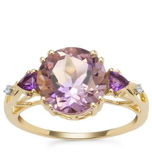 Anahi Ametrine Ring with Amethyst and White Zircon in 9K Gold 3.59cts