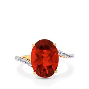 Tarocco Red Andesine Ring with White Zircon in 9K Gold 4.55cts