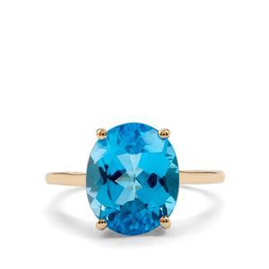 5.49ct Swiss Blue Topaz 10K Gold Ring