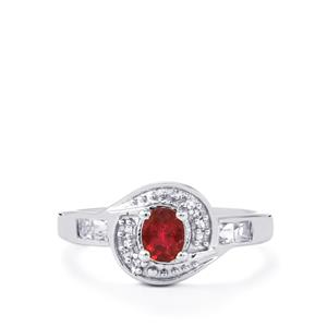 Cruzeiro Rubellite Ring with White Topaz in Sterling Silver 0.62ct