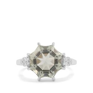 Mirror of Paradise Cut Prasiolite Ring with White Zircon in Sterling Silver 5.20cts