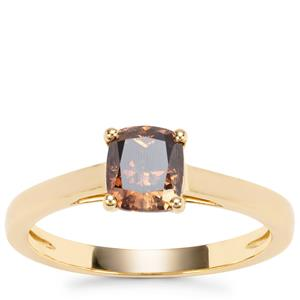 Champagne Diamond Ring in 18K Gold 1ct