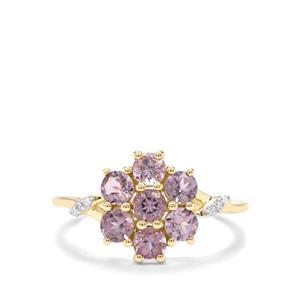 Mahenge Purple Spinel & Diamond 9K Gold Ring ATGW 1.32cts