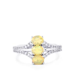 Ethiopian Opal & White Zircon Sterling Silver Ring ATGW 1.07cts