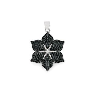 Black Spinel Pendant with White Zircon in Sterling Silver 2.79cts